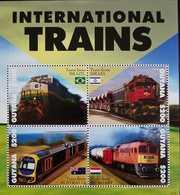 O) 2013 GUYANA, INTERNATIONAL TRAINS - RAYWAYS - BRAZIL - ISRAEL- AUSTRALIA - HUNGARY, FLAGS, MNH - Guyana (1966-...)