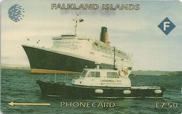 Falklands - Queen Elizabeth 2 Ship, 3CWFA, 1994, 40.000ex, Used - Falkland Islands
