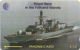 Falklands - Royal Navy - HMS Iron Duke, 59CFKC, 1996, 20.000ex, Used - Falkland Islands