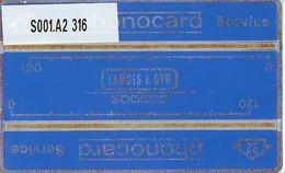 "RARE * NEDERLAND LANDIS&GYR * SODECO * SERVICE CARD NR S001.A2  316  ""22""  2mm ONGEBRUIKT *  MINT - Test & Dienst"
