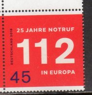 GERMANY, 2016, MNH, EUROPEAN EMERGENCY NUMBER, 25th ANNIVERSARY OF  112, 1v - Stamps