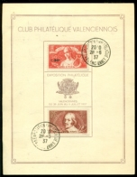 """France 1937 Carte Speciale """"Club Philatélique Valenciennois"""" No. 261 De 1.500 Exemplaires - Frankreich"""