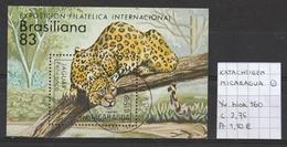 Katachtigen - Nicaragua Yv. Blok 160 Gestempeld/oblitéré/used - Roofkatten