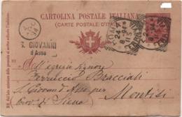 Cartolina Postale Cent. 10 Effigie Con Annullo Roma 24.08.1894 E San Giovanni D'Asso (Siena) E Annullo Muto - Entiers Postaux