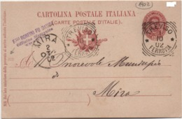 Cartolina Postale Cent. 10 Effigie Con Annullo Treviso Ferrovia 01.10.1902 E Mira (Venezia) 02.10.1902 - 1878-00 Umberto I