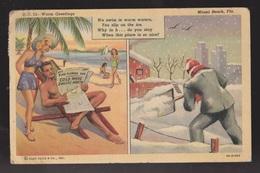 Comic Postcard - Warm Greetings On Beach Vs Shovelling Snow - Used 1944 - Comics