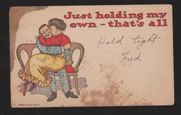 Comic Postcard - Woman & Man Just Holding My Own - Unused - Large Stain - Comics