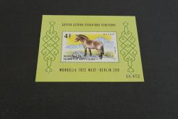 K15045 -Bloc   MNH Mongolia -  1972 - SC. C15 -- Mongolian Hors  - West-Berlin Zoo - Caballos