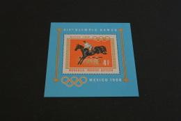 K15047 -Bloc   MNH Mongolia -  1968 - SC. 504  - Olympics Mexico - Horses