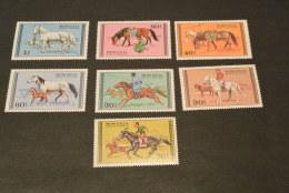 K15124 -set MNH Mongolia - 1977 - Horses - Caballos
