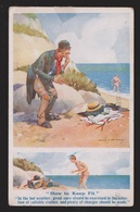 Comic Postcard - Tramp Stealing Swimmer's Clothes - Used - Comics