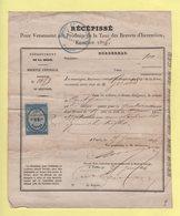 Taxe Des Brevets D Invention - 1876 - Timbre Fiscal - Machine A Egrener Les Trefles - Marcophilie (Lettres)