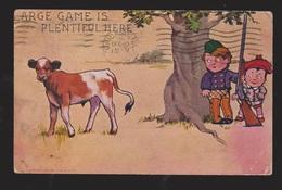 Comic Postcard - Boys Hunting Cow - Large Game Plentiful Here - Used 1906 - Comics