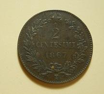 Italy 2 Centesimi 1867 T - 1861-1878 : Victor Emmanuel II