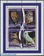 Korea, North 2000 Owls 4v M/s, (Mint NH), Nature - Owls - Birds - Birds Of Prey - Corea Del Nord