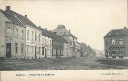 """ASSE - Place De La Station / Rehts Café Des Arcades / Links """"Au Télégraphe"""" En """"Café De La Station"""" - Asse"""