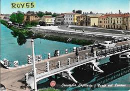 Veneto-venezia-concordia Sagittaria Ponte Sul Lemene Veduta Ponte Auto E Donna In Bici Sul Ponte Fiume Case Animata - Italia