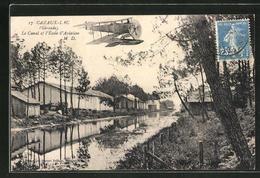 CPA Cazaux-Lac, La Canal Et L'Ecole D'Aviation, Wasserflugzeug - France