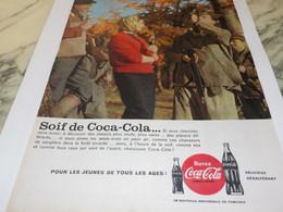 ANCIENNE PUBLICITE  SOIF DE COCA COLA CHASSE 1959 - Posters