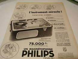 ANCIENNE PUBLICITE MAGNETOPHONE INSTRUMENT MIRACLE PHILIPS 1959 - Music & Instruments