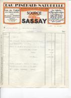 EAU MINERALE - SOURCE SASSAY - PLANCOËT - Date 1954 - Alimentaire