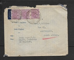 India Cover, GVR 1a3p X3, RAIGOH KANGRA 7 JY 41c.d.s. >S.Africa. - 1936-47 King George VI