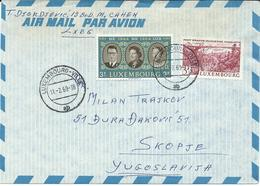 Luxembourg Par Avion Letter Via Yugoslavia 1969 - 1964 The 20th Anniversary Of Benelux,Architecture/Bridges - Luxembourg