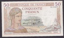 FRANCE : BILLET  50 FRANCS CERES Du 19-10-1939 - Plusieurs Trous, Plis Et Salissures (2 Scan) L 3 - 50 F 1934-1940 ''Cérès''
