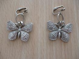 Boucles Oreilles Non Percées - Papillon Métal - Neuves - Earrings