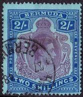 BERMUDA 1938 KGVI 2 Shillings Deep Purple & Ulramarine/Grey-Blue SG116 Fine Used - Bermuda