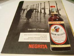 ANCIENNE PUBLICITE  L HIVER BIENTOT RHUM NEGRITA 1959 - Alcohols