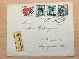 A891 Deutsches Reich Österreich 1938 R-Brief Von Gars Am Kamp Mit Propagandavignetten + Ländermischfrankatur Nach Wien - Deutschland