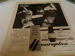 ANCIENNE PUBLICITE MONTRE  EUROPLAN DE   ESKA  1959 - Jewels & Clocks