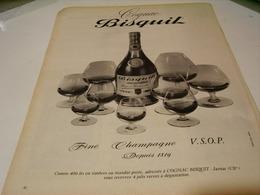 ANCIENNE AFFICHE PUBLICITE FINE CHAMPAGNE COGNAC   BISQUIT 1954 - Alcohols