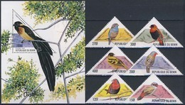 MDB-BK4-142-2 MINT ¤ BENIN 1999 6w Uit Serie + BLOCK ¤ TRIANGEL  ANIMALS - OISEAUX - BIRDS - PAJAROS - VOGELS - VÖGEL - - Zangvogels