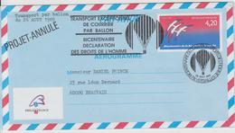 1989 Bicentenaire De La Déclaration Des Droits De L'Homme (transport Par Ballon Annulé) - Marcophilie (Lettres)
