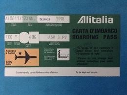 ALITALIA AEREO VOLO AZ0611 BIGLIETTO CARTA D'IMBARCO BOARDING PASS AL RETRO PUBBLICITA' BENZINA TAMOIL - Biglietti Di Trasporto