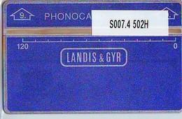 "NEDERLAND LANDIS&GYR * SODECO * SERVICE CARD NR S007.4  502M  ""9"" ONGEBRUIKT *  MINT - Test & Dienst"