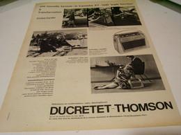 ANCIENNE PUBLICITE TRIPLE FONCTION DUCRETET THOMSON 1959 - Music & Instruments
