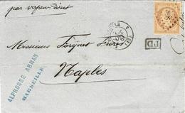"""1861- Lettre De MARSEILLE 4 ( B. Du R. ) Cad T15 Affr N°16 Oblit. P C 896  """" Par Vapeur Direct """" Pour Naples - Marcophilie (Lettres)"""