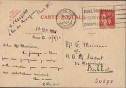 Entier CP 90ct Rouge Paix Laurens CAD Paris RP 10 IX 34 Flamme Aimez Protéger Pigeon Voyageur Serviteur Pays Pour Suède - Standard Postcards & Stamped On Demand (before 1995)
