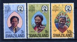 Swaziland 1974 75th Birthday Of King Sobhuza II Set Used (SG 212-214) - Swaziland (1968-...)