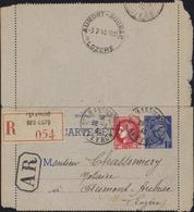 Entier Carte Lettre Mercure 1F Bleu Storch B1 Recommandé Complément YT 373 Rec Avec AR CAD St Amans Des Cots Aveyron - Biglietto Postale