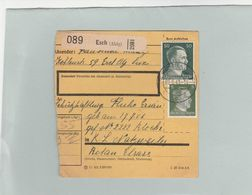 HITLER 5+50PF CARTE COLIS POSTAL ESCH - ALZIG -1943 CAMP DE CONCENTRATION DE NATZWEILER - STRUTHOF -              TDA179 - Postmark Collection (Covers)