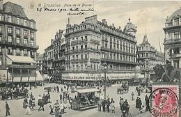 CARTE POSTALE ORIGINALE ANCIENNE : BRUXELLES LA PLACE DE LA BOURSE ANIMEE BELGIQUE - Squares