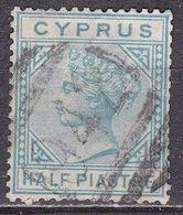 CYPRUS 1881 Queen Victoria With WM CC Half Piastre Emerald Vl. 11 Cancellation 942 (Larnaca) - Chypre (République)
