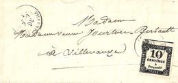 1862 - Lettre De VILLENAUXE ( Aube ) Affr. 10 C TAXE Type II A  Oblit. Cad T15 - Postmark Collection (Covers)