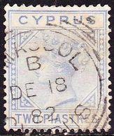 CYPRUS 1881 Queen Victoria With WM CC 2 Pi Blue Vl. 13 - Chypre (République)