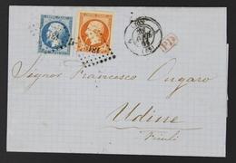 Lettre France 1853-60 Emission Empire Non Dentelé Napoleon III 20c Bleu Type II+40c Orange Lyon à Udine Friuli Italie - 1849-1876: Période Classique