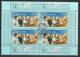 """DDR 3190 Klbg.  """" 4x10 Pfg.-Briefmarken:10 Jahre Bemannter Weltraumflug UdSSR-DDR 1988"""" Sonderstempel Mi 1,50 - Blocs"""